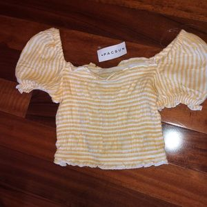 PacSun Tops - LA Hearts PACSUN Yellow Striped Off Shoulder Top